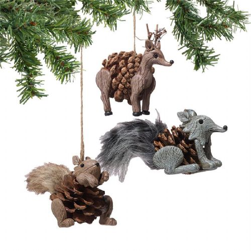 Pinecone Animal Ornaments Set of 3